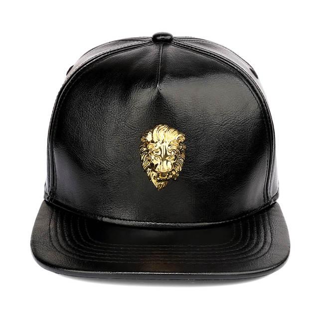placeholder NYUK Black Snapback PU Leather Crocodile Hats Gold Lion Head  King Logo Baseball Caps Hip Hop 3f9e7a03bbfe