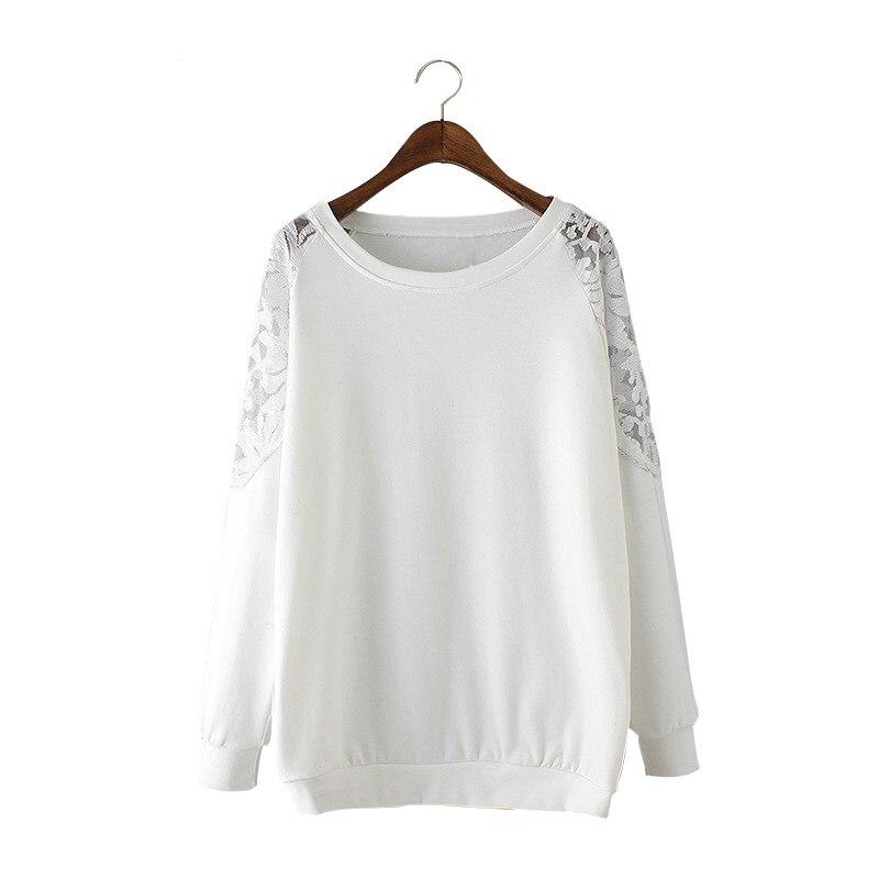 249fd9dab80cc Más tamaño de alta calidad Tops de las mujeres camiseta del remiendo del  cordón del o-cuello de manga larga más tallas del tamaño blanco XL-4XL
