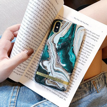 Ink Green Luxury Marble Case For iPhone X XR XS Max 7 8 Plus Soft TPU Silicone Cover Cases For iPhone 8 7 6 6S Plus Back Capa цена и фото