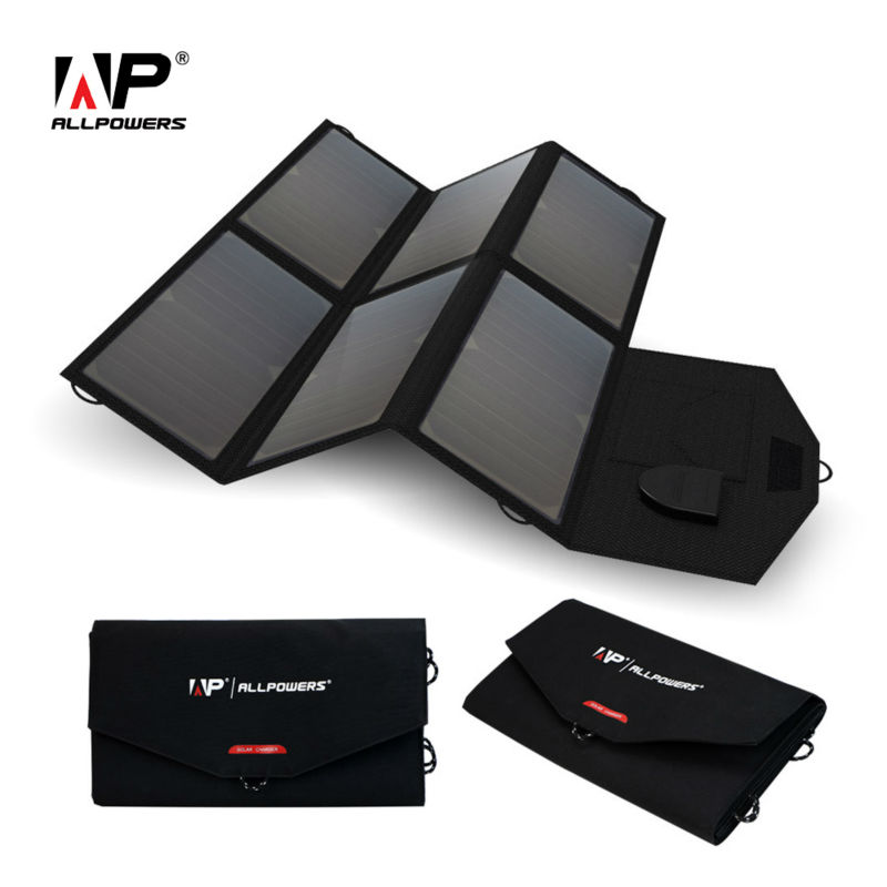 ALLPOWERS Solar Charger 5V 12V/18V Portable Solar Panel Charger for iPhone Samsung iPad 12V Car Battery 18~19V Laptops and more.