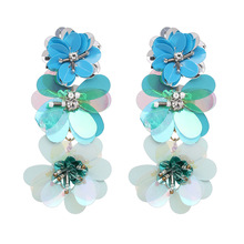 Trendy Big Flower Dangle Earring for Women Blue Black Red Crystal Drop Earrings Aretes De Mujer Brincos 2018 Wholesale Jewellery vintage kaleidoscope flower drop earring for women blue purple indian mandala pattern round eardrop wholesale brincos 2018