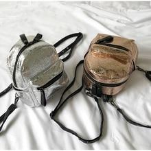 Трещины металлик Для женщин Искусственная кожа ослепительно блестящие небольшой рюкзак блестящие цвета: золотистый, серебристый Для женщин рюкзак Лазерная Обувь для девочек bac