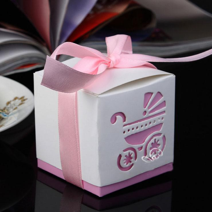 50pcs Laser Cut Carriage Gift Candy Boxes Wedding Favors and Gifts Baby Shower Party Decoration-5
