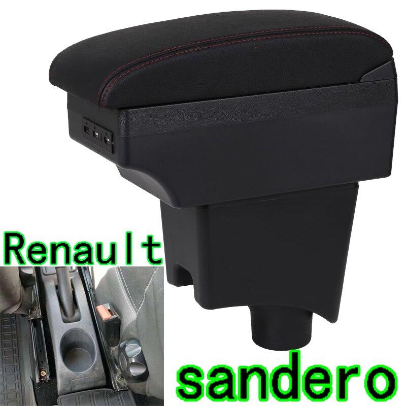Para renault sandero caixa de apoio braço Sandero1-2 universal carro central caixa armazenamento acessórios modificação