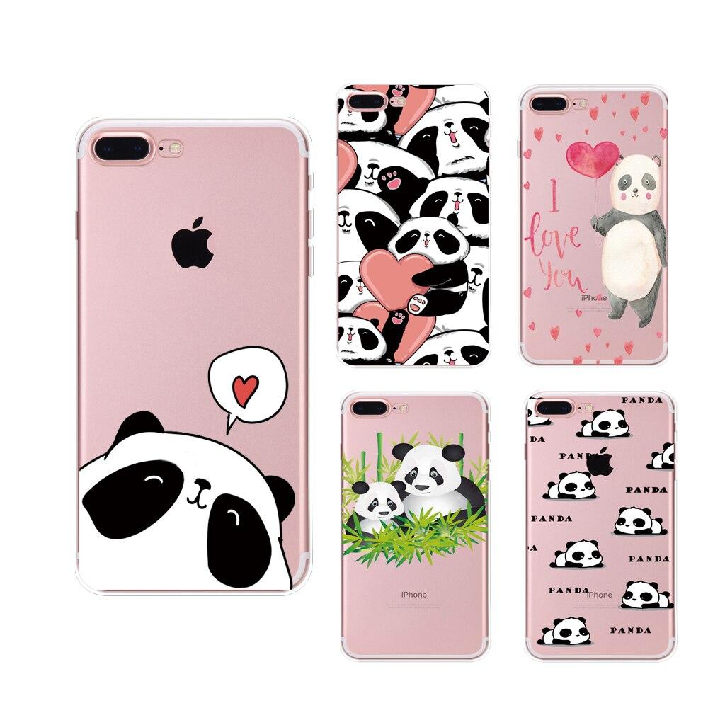 Teléfono case para iphone 5 5s se 6 6 s 7 7 plus lindo panda ultrafino transpare