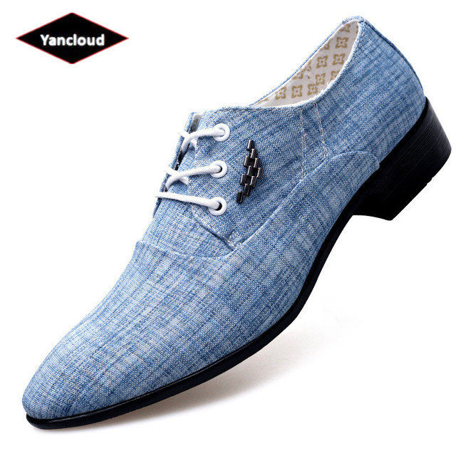 45d143c899c4c Pointed Toe Spring Summer Breathable Mens Dress Shoes 2019 Lace up Square  Heel Canvas Espadrilles Comfortable Office Shoes