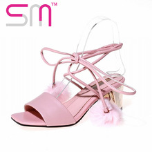 New Sexy Fur Ball Gladiator Sandals Ankle Strap Women's Sandals Woman 32-43 Summer Open toe Thick Strange Heels Women Shoes 2016