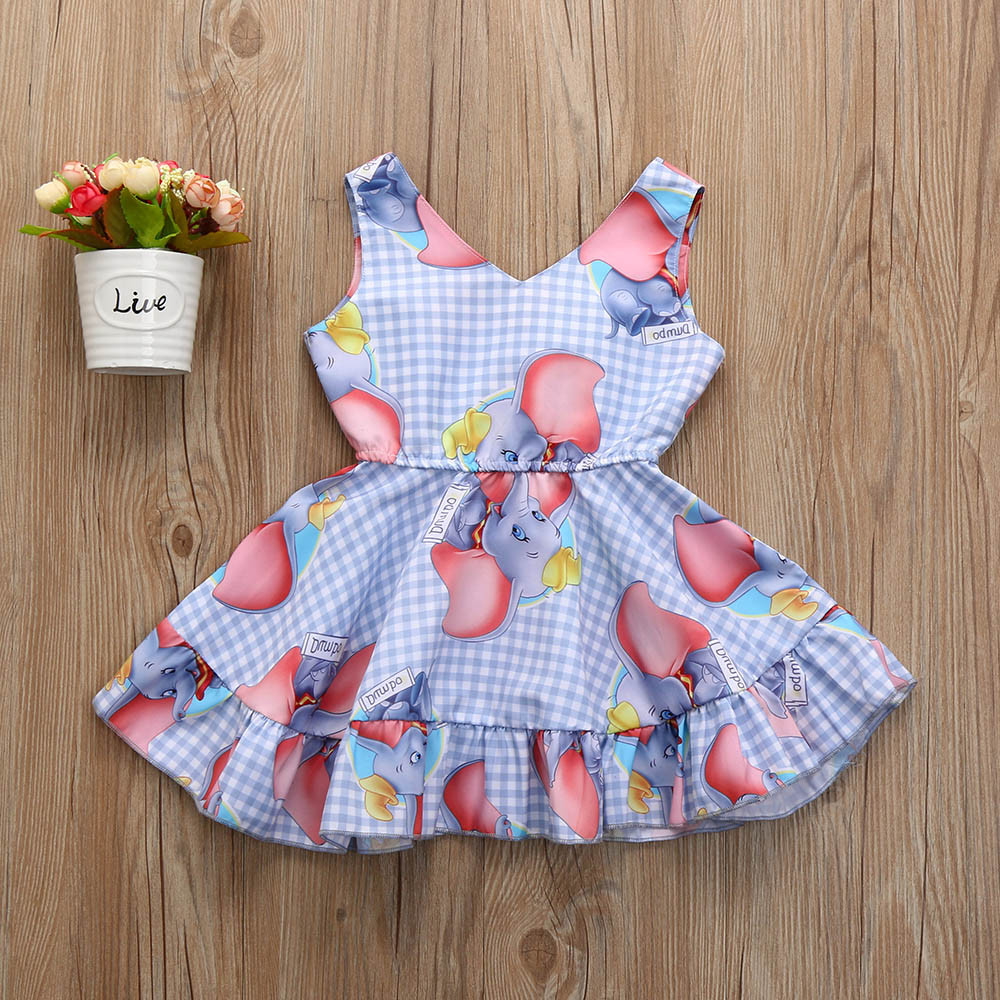 Dresses Muqgew Party Dress For Girls Princess Toddler Baby Girls Dress Cartoon Elephant Print Plaid Sleeveless Dresses Outfits Bebek El
