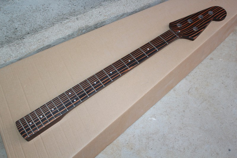 hot sale factory custom zebra wood diy 20 frets 4 or 5 strings bass guitar neck can be changed. Black Bedroom Furniture Sets. Home Design Ideas