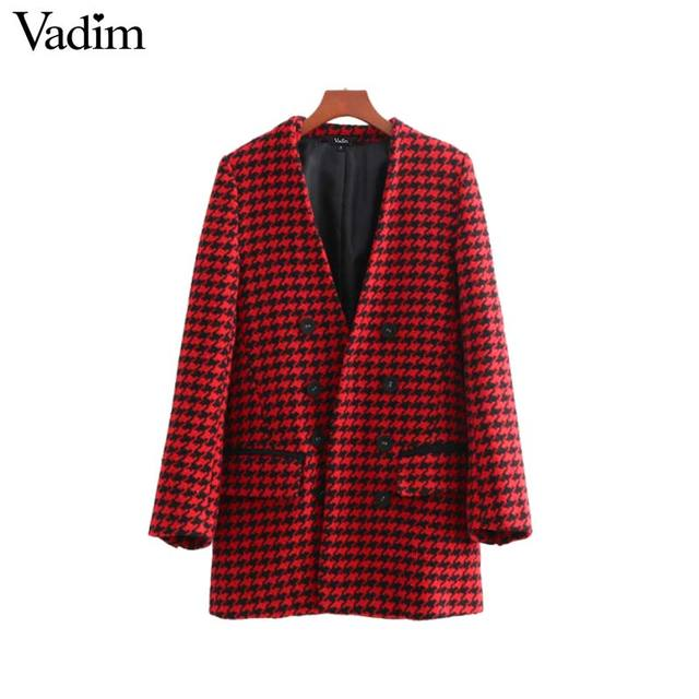 Vadim women stylish V neck plaid blazer double breasted long sleeve pockets split outerwear retro ladies casual chic tops CA148