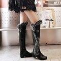 35-43 Invierno Nieve Caliente Botas de Moda Hebilla de Piel de Conejo Encima la Rodilla Botas de Las Mujeres de La Pu de Cuero de Algodón Zapatos Botas Femininas O1863