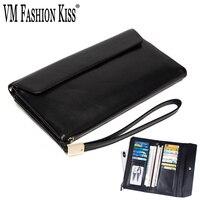VM FASHION KISS Genuine Leather Women/Men Soft Wallet Women's Coin Purse For Men Mobile Wallets Famous Male Clutch Money Bag