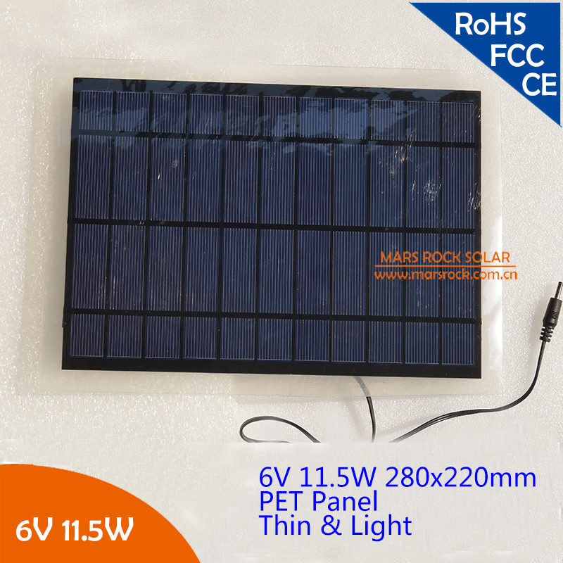 PET Light Poly Solar Panel - 6V 11.5W DIY Solar Power ModulePET Light Poly Solar Panel - 6V 11.5W DIY Solar Power Module