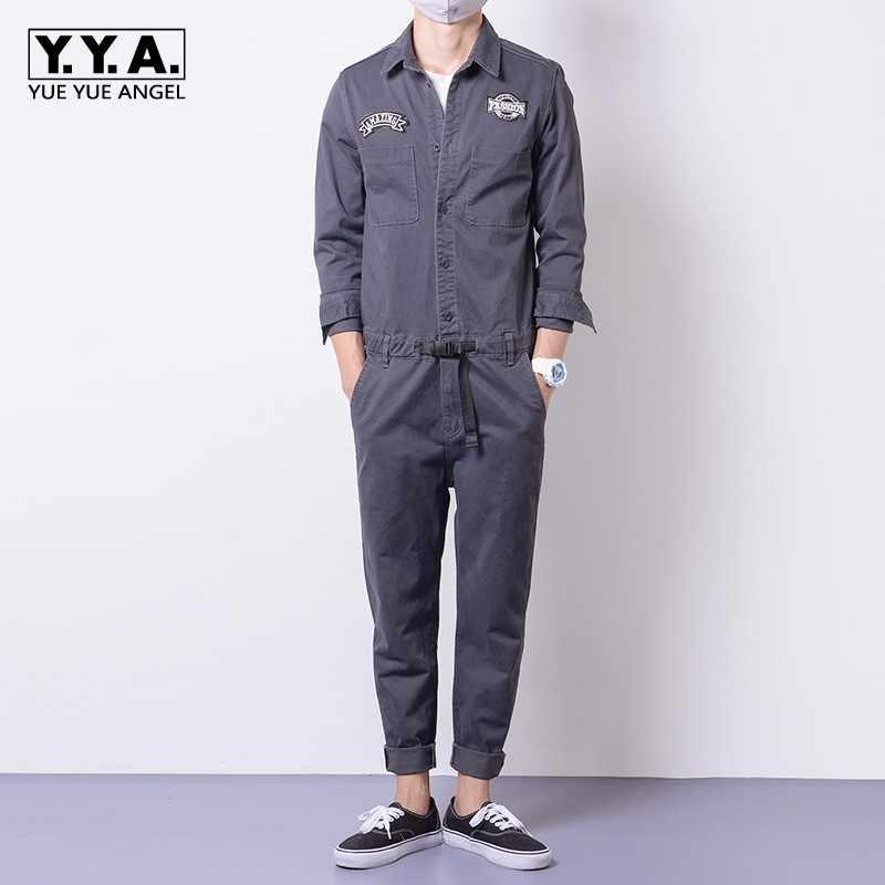 03739c53ce91 Mens Jumpsuits Cargo Cotton One-Piece Long Sleeve Pants Casual Trousers  Clothes Autumn Comfort Loose