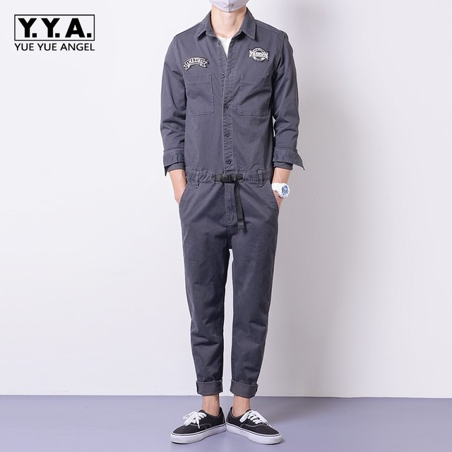 0d8184cdbce Mens Jumpsuits Cargo Cotton One-Piece Long Sleeve Pants Casual Trousers  Clothes Autumn Comfort Loose Rompers Retro Male Overalls