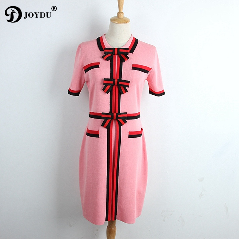 JOYDU 2018 New Preppy Summer Dress Female Short Sleeve Lapel Sweet Bow Striped Patchwork Knitted Boho Casual Dresses for Women
