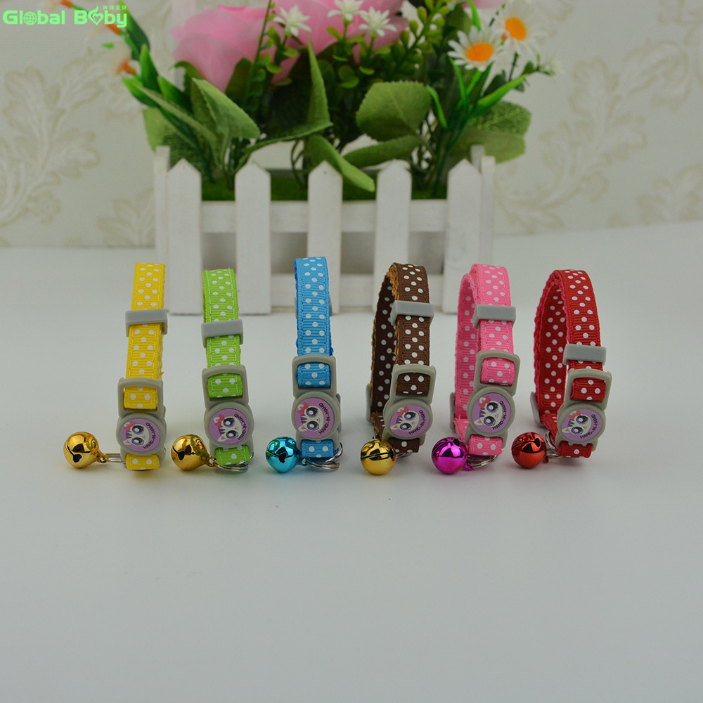 Free Shipping 6 Colors 7-11inch Polka Dot Nylon Pet Cat Collar with Bells
