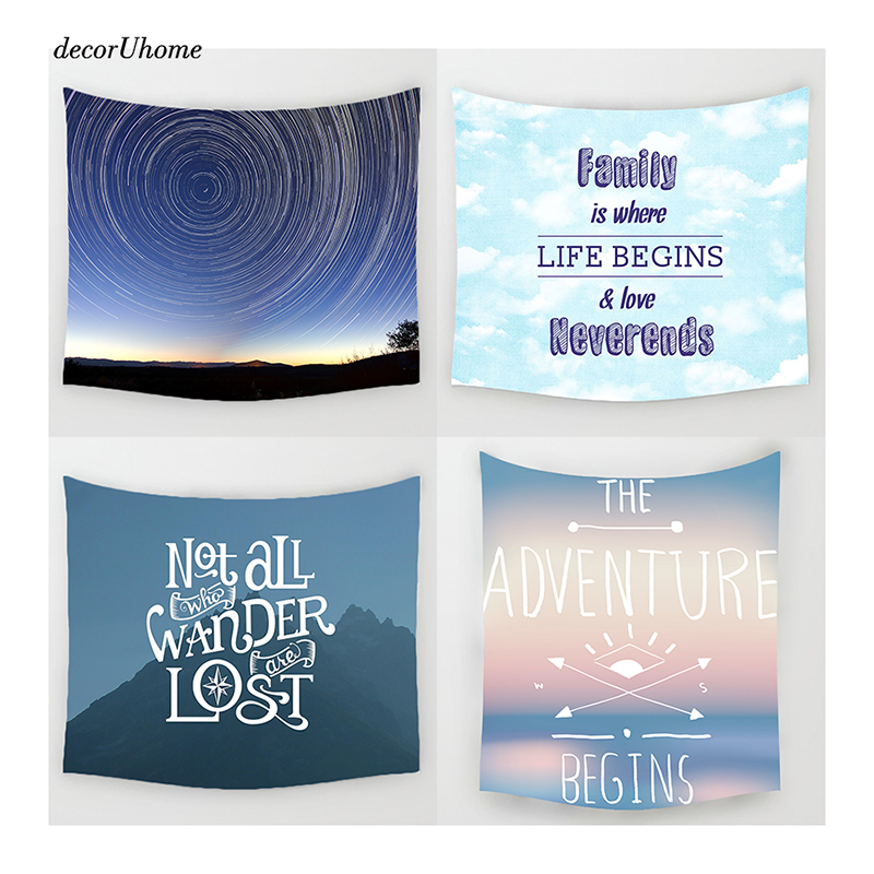 DecorUhome Nordic Abstract Scenery Letter Wall Decoration Beach Towels Home Decor Hanging Living Yoga Mat Printing Wall Tapestry