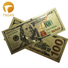 Drop Ship Colorful USA Gold Foil $100 Banknote Valuable Collection Gold Foil Banknote 10pcs