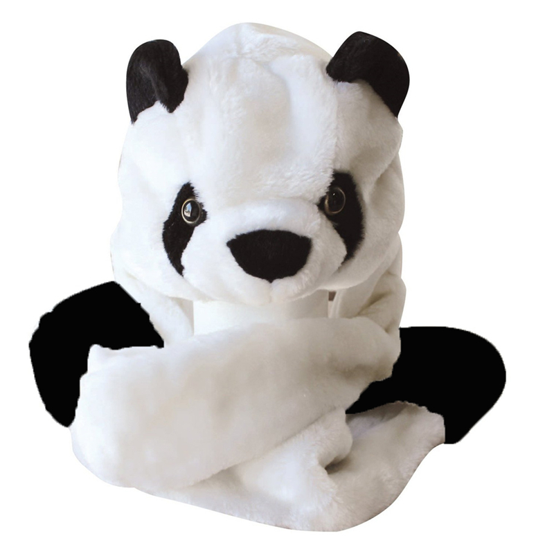 New Fashion Cute Plush White Panda Animal Hat with Paws for Teenagers Winter Hats Free Shipping