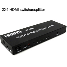 4K*2K HDMI Matrix 2x4 Switcher Splitter 2 in 4 out HDMI Converter Adapter With Remote Control Suports 4K 3D 1080p HDMI 1.4