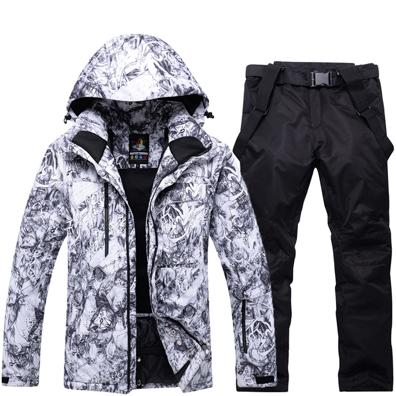 2018 NEW Ski Suit Men Waterproof Windproof Snowboard Jackets And Pants Set Winter Outdoor Skiwear Men's Skiing Clothing camouflage soft shell woman winter ski jackets outdoor waterproof skiing and skateboard clothing for women 2017 new hot sale
