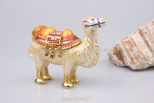 Camel standing box Enamel Figurine with Crystals Trinket Pill Jewelry box Pewter Camal Display craft display