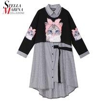 جديد حجم كبير 2020 النساء الخريف الشتاء Kawaii الكرتون قميص فستان القط ملابس منقوشة بكم طويل سيدة عادية لطيف ميدي نمط فستان 3936
