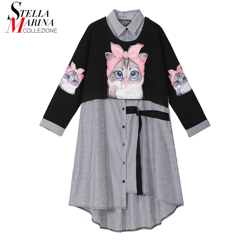 New 2019 Women Autumn Winter Kawaii Cartoon Shirt Dress Cat Print Long Sleeve Lady Casual Cute Midi Dress robe femme style 3936