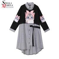 New 2019 Women Autumn Winter Kawaii Cartoon Shirt Dress Cat Print Long Sleeve Lady Casual Cute Midi Dress robe femme style 3936