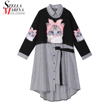 New Plus Size 2020 Women Autumn Winter Kawaii Cartoon Shirt Dress Cat Printed Long Sleeve Lady Casual Cute Midi Dress style 3936