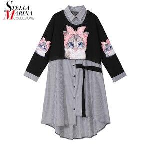 Image 1 - Novo plus size 2020 mulheres outono inverno kawaii cartoon camisa vestido gato impresso manga longa senhora casual bonito vestido midi estilo 3936