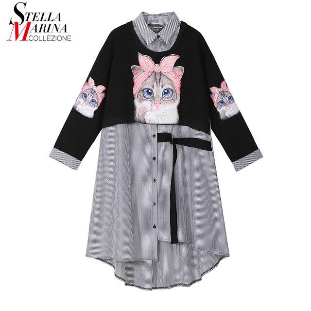 Novo plus size 2020 mulheres outono inverno kawaii cartoon camisa vestido gato impresso manga longa senhora casual bonito vestido midi estilo 3936
