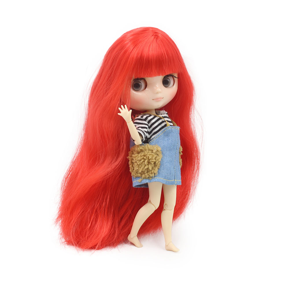 NO 210BL1061 Nude middie blyth joint doll Red hair Transparent face suitable DIY gift for girl