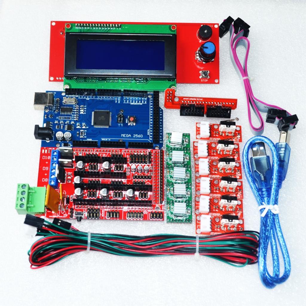 sale cnc 3d printer kit for arduino mega 2560 r3 ramps 1 4 controller lcd 2004 6x limit. Black Bedroom Furniture Sets. Home Design Ideas