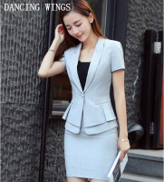 Novelty Black Grey Summer Short Sleeve Career Blazer And OL Skirt For Ladies Office Work Wear Uniforms Outfits