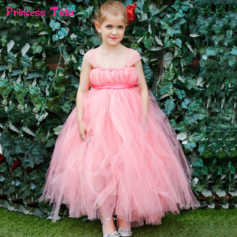 Flower Girls Tutu Dress For Children Birthday Party Wedding Tulle Dress Girls Kids Princess Girl Ball Gown Dresses Vestido 1-14Y muababy big girls princess dress summer children flower sleeveless tulle prom party dresses kids girl wedding evening ball gown
