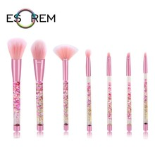 ESOREM 7pcs Fluid Flash Powder Makeup Brushes Set With Transparent Bag Gorgeous Handle Make Up Brush Eyeshadow Flat Blending