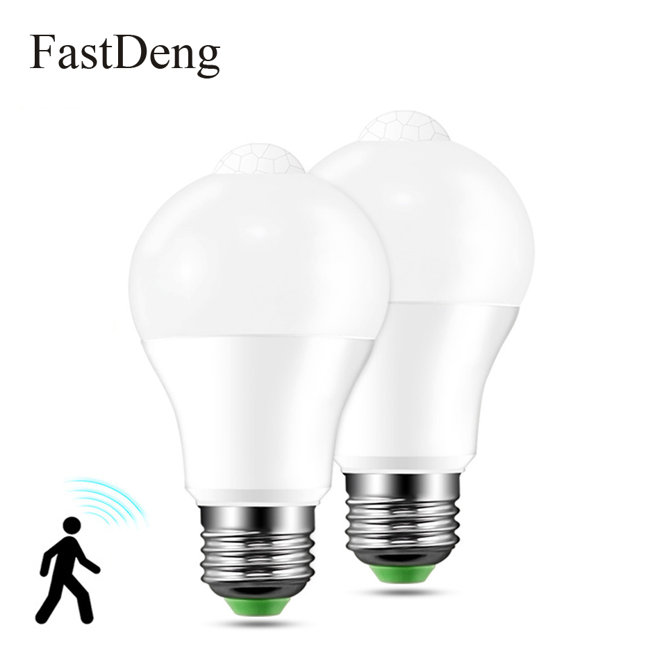Motion Sensor LED Light Bulb E27 B22 12W 18W 220V 110V LED Lamp Body Induction Auto Turn On/Off With PIR Motion Detection цена