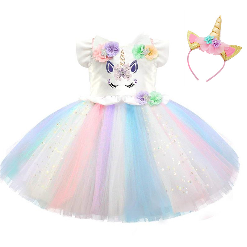 Newborn Princess Dress Unicorn Baby Girls 1st Birthday Outfit Rainbow Dress Tutu Dress Toddler Infant Girl Party Dress Costume