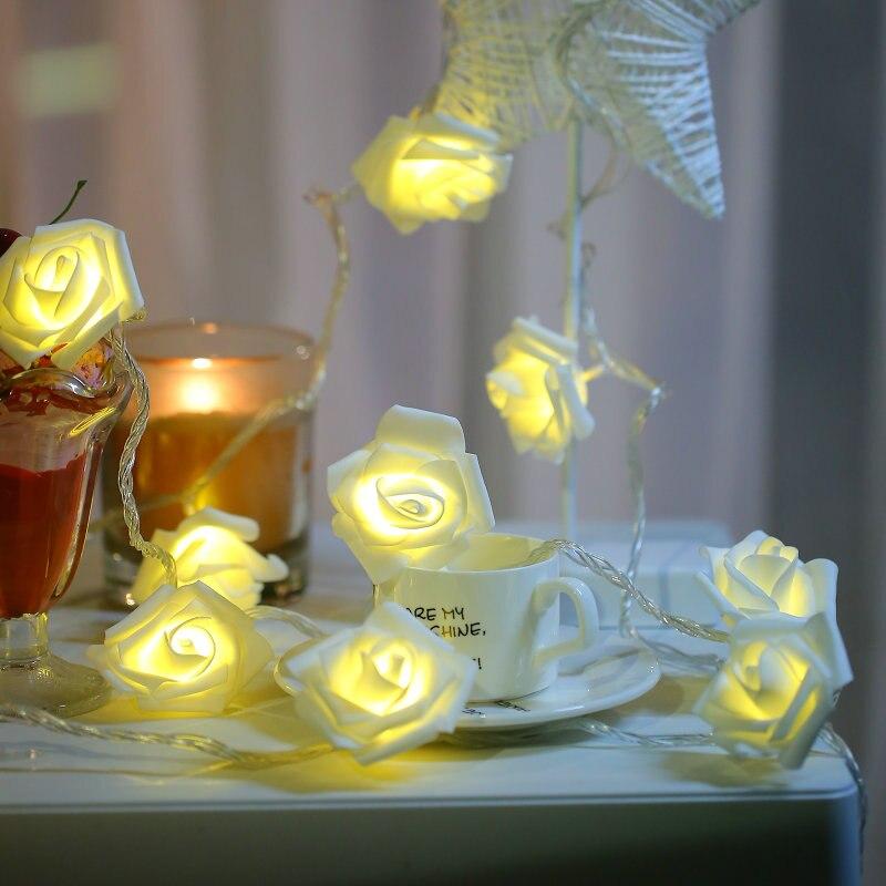 LED Roses Flower Fairy Lights 20 LED Battery Powered String Lights Room Bedroom Wedding Holiday Luces LED Decoration Lights Lamp