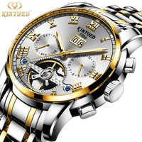 KINYUED สแตนเลสแฟชั่น Tourbillon Royal Luxury Gold นาฬิกากันน้ำผู้ชายอัตโนมัตินาฬิกายี่ห้อ