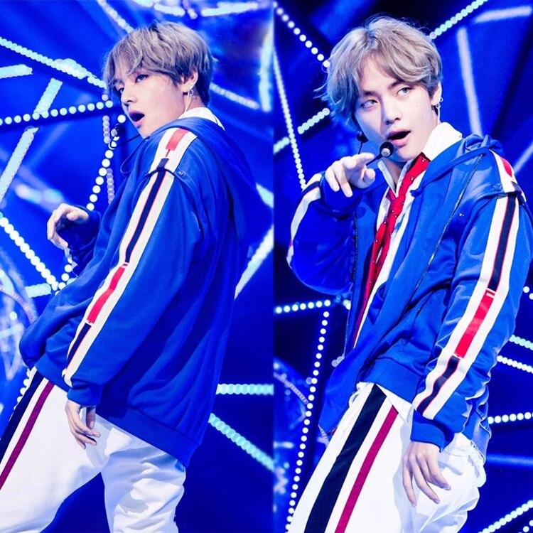 Nouveau kpop Bangtan Boys V le même paragraphe sweat à capuche bleu T stage performance vêtements hommes et sweat à capuche pour femme
