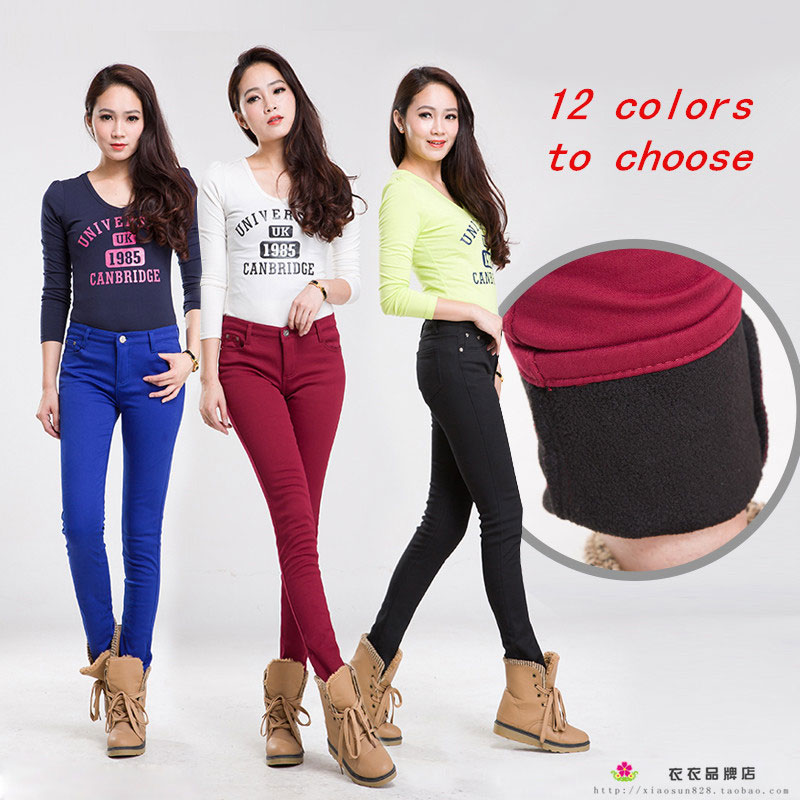 2019 Autumn Winter Jeans For Women Skinny Pencil Style Warm Many Colored Jeans Plus Cashmere