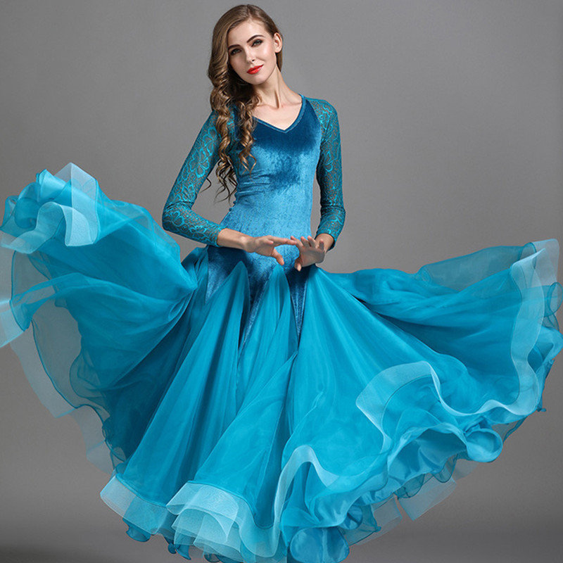4 Colors New Velvet Green Waltz Dress Rumba Competition Ballroom Standard Dance Dress Dance Clothing Stage Ballroom Dress Women