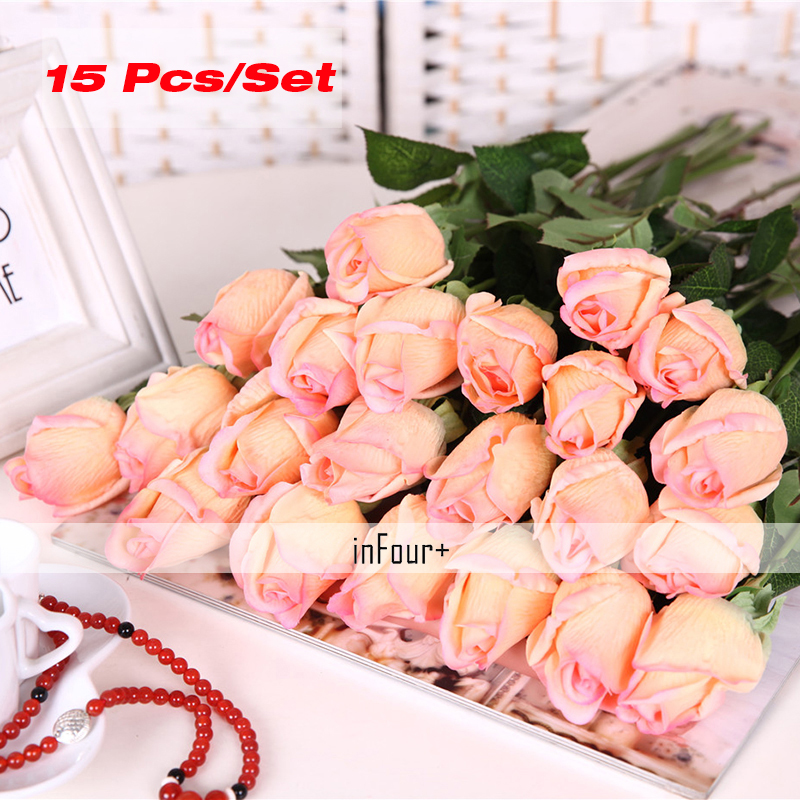 Aliexpress.com : Buy 15Pcs Yellow Rose Vintage Home Decor Flower Real Touch  Rose Silk Flowers Artificial Flowers For Wedding Decoration Fake Flowers  From ...