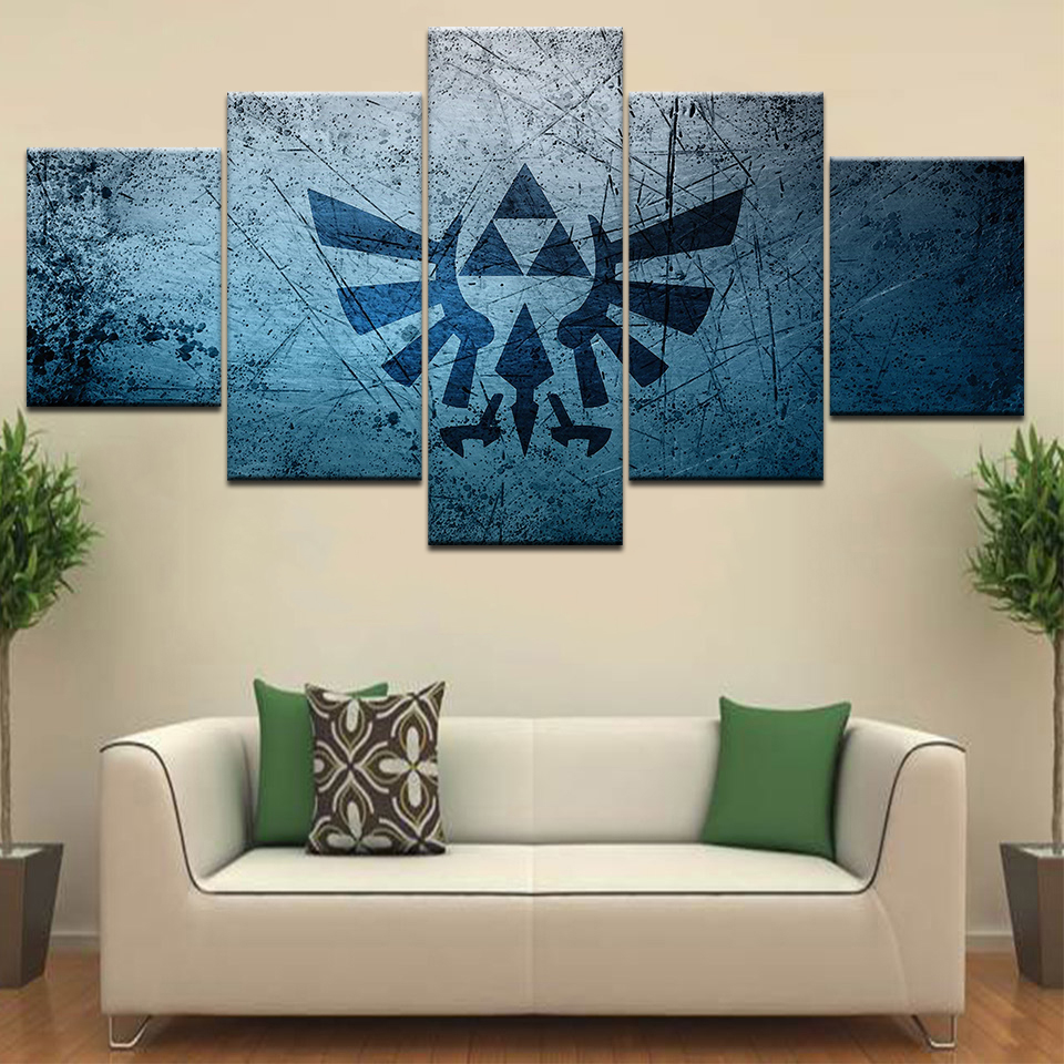 Modular Canvas Painting Wall Art Pictures Frame Living Room Decor 5 Pieces Legend Of Zelda Cartoon Game <font><b>Logo</b></font> <font><b>Poster</b></font> image