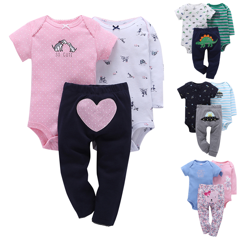 2018 Newborn Baby Boy Girl Clothing Set For Unisex Bodysuit Clothes Suit Cotton Short Sleeve Infant Playsuit Ropa Bebes Jumpsuit