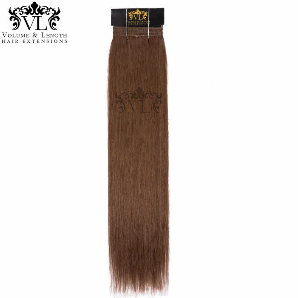 VL 1 Adet Orta Kahverengi Saç Örgü % 100% Remy saç ekleme İnsan Saç Salon Profesyonel Atkı #6 Düz Saç Demetleri