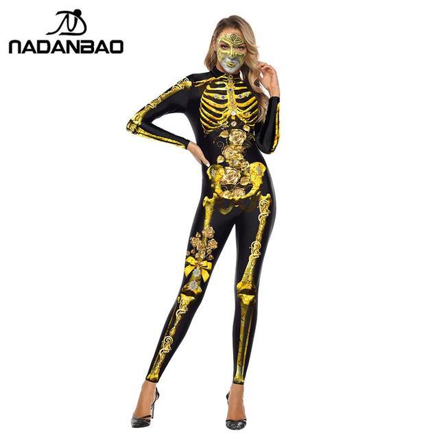 NADANBAO Scary Purim Karneval Cosplay Kostüm Gold Skeleton Body Frauen Halloween Kristall Skeleton Elastische Catsuits